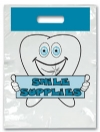 Bags - 2 Color Brush Blue Smile Large 9x13 (100)