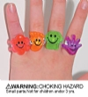 Rings - Childrens Smile Glitter Assorted (144)