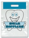 Bags - 2 Color Brush Blue Smile Small 7.5x9 (100)
